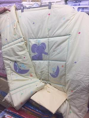 3 piece Cot. Cot/Bed  bale Elephant & friends includes  Quilt, bumper and sheet