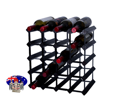 20 Bottle Timber Wine Rack -  Black Onyx - Borders Wine Storage Solution