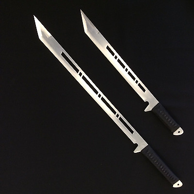 Sharp Full Tang Double Machete and Sheath SIlver Blade