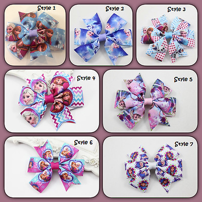 NEW Girls Hair Clip Bow - Frozen Elsa Anna Olaf - 7 Styles to Choose