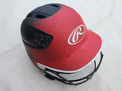 Rawlings girls multi-tone softball helmet with face mask, size SM