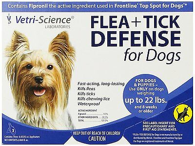 Vetri Science Flea + Tick Defense for Dogs and Puppies Upto 22-Pound, 3 Doses