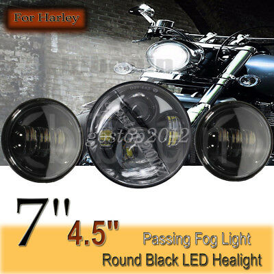 7'' Round LED Projector Daymaker Headlight HI Lo +4.5'' Passing Light For Harley