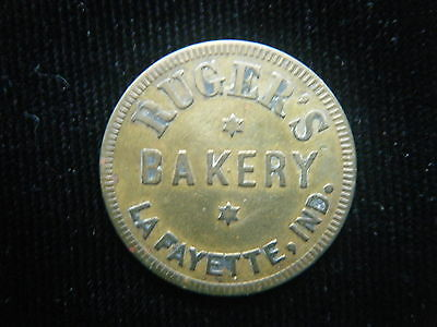 Rugers Bakery Lafayette,indiana Good For 1 Loaf Of Bread Token Brass