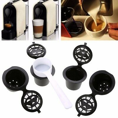 4x Refillable Reusable Coffee Capsules K Cups Pod For Nespresso Steel Filters