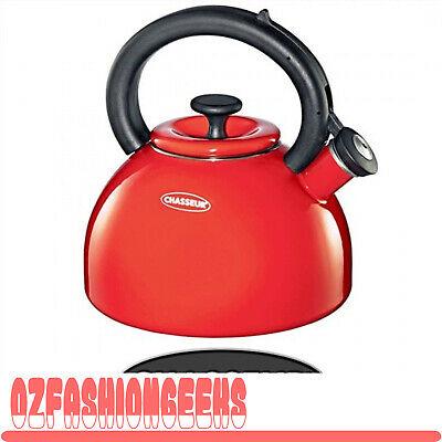 100% AUTHENTIC Chasseur Porcelain Enamelled Whistling Kettle 2.5L RED RRP$119