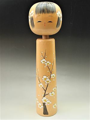 JAPANESE ANTIQUE LOVELY BIG KOKESHI DOLL ORNAMENT 45cm GIRL FLOWER WHITE