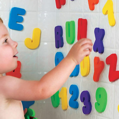 36pcs Kids Toddler Educational Foam Letters Numbers Floating Bath tub Stick Toy