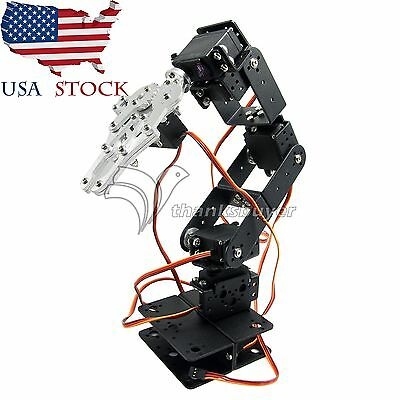 Aluminium Robot 6DOF Arm Mechanical Robotic Clamp Claw Mount Kit for Arduino US