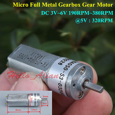 Micro Full Metal Gearbox Gear 050 Motor DC 3V-6V 190RPM-380RPM 16mm for Robot