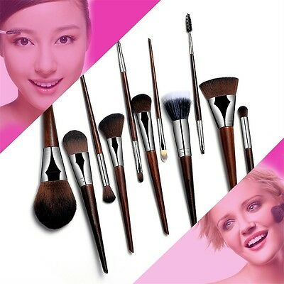 11 Pcs Set Rosewood Makeup Cosmetic Brushes For EysShadow Powder Foundation BY