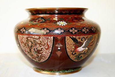 Very Fine Japanese Cloisonne Small Rose Bowl Wedding Vase Dragon And Phoenix