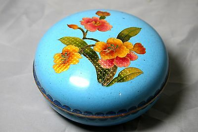 Japanese Cloisonne Silver Wire Trinket Pot Fabulous Quality 1950's
