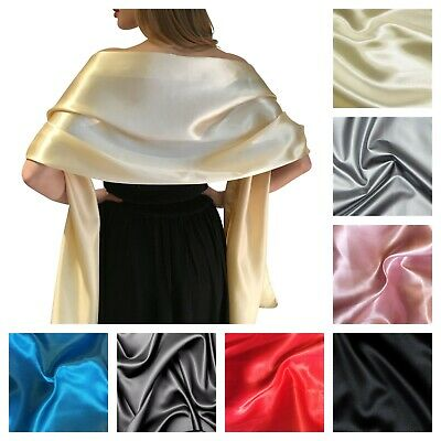 Silky Satin Bridal Wrap Stole Shawl Pashmina Scarf Wedding Bridesmaids S-M L-XL