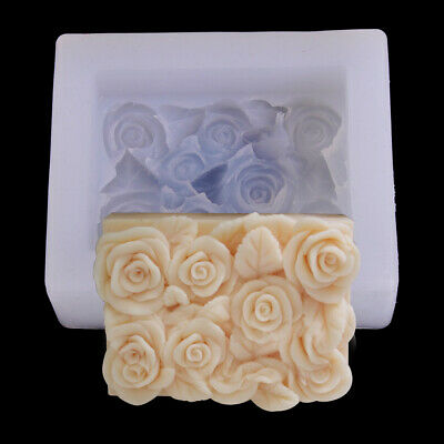 Silicone Rose Flower Soap Mold Rectangle Handmade soap mould Resin Candle Crafts
