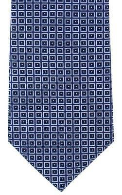 Michelsons of London Classic Diamond Print Silk Tie - Navy