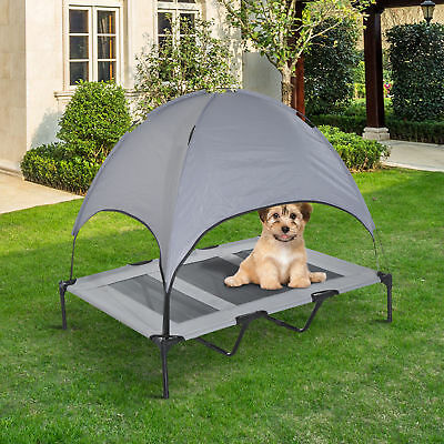 PawHut Elevated Pet Bed w/ Canopy Outdoor Covered Raised Dog Cot w/ Carrying Bag & PawHut Elevated Pet Bed Dog Foldable Outdoor Cot Tent Canopy ...