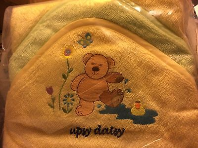 New 2 x Baby Cuddle Robe/Hooded Towel  & 2 facecloths with embroider hood