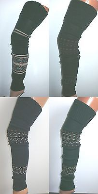 "EXTRA LONG THIGH HIGH FAIRISLE AZTEC WARM LEGWARMERS LEG WARMER 81cm 32"" NEW"