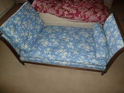 Antique French Day Bed Chaise Longue Blue Cream