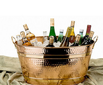 Ice Bucket Beverage Tub Wine Beer Cooler Home Party Decor Oval Design Copper New