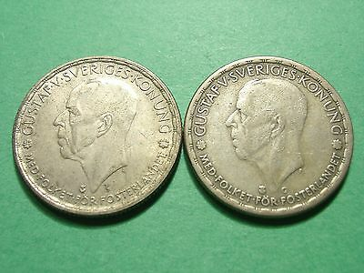 SWEDEN lot of 2 Silver Coins