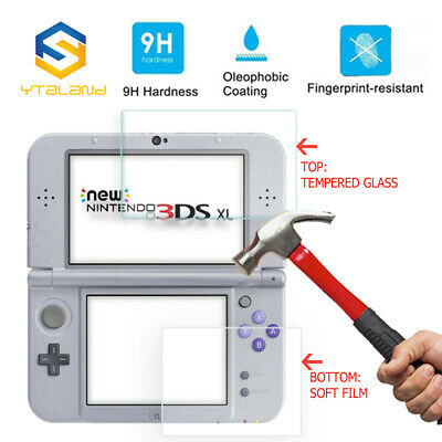 Top+Bottom Tempered Glass Cover Screen Protector For Nintendo 3DS XL New 3DS XL