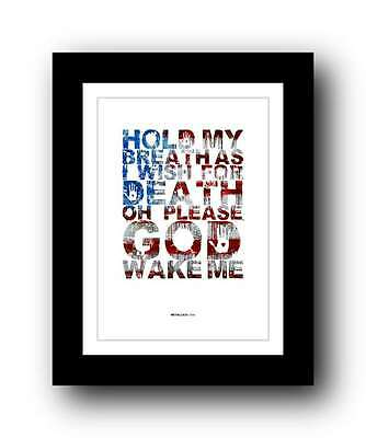 METALLICA - One ❤ song lyric poster art Limited Edition Print - 5 sizes #11