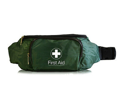 Empty Green First Aid Bum Bag (2 Compartments) - Work Travel Sports Kit Bumbag