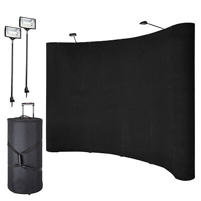 10ft Portable Display Trade Show Booth Exhibit Black Pop Up Kit Spotlights New