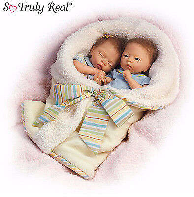 """Ashton Drake """"Taylor And Tyler"""" Poseable Twin Baby Doll Set New"""