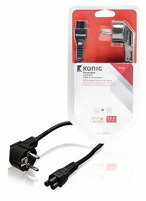 Konig Power cable CEE 7/4 angled (schuko) to IEC-320-C5 5m black