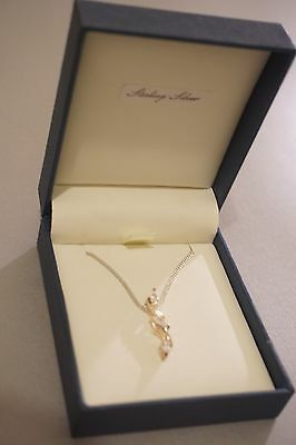 Sterling Silver Crystal Leaf Necklace