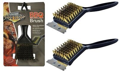 2 x Heavy Duty Firm Brass Bristles BBQ Oven Grill Cleaning Brush & Scraper