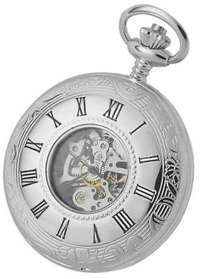 Woodford Chrome Plated Double Half Hunter Skeleton Spring Wound Pocket Watch - S