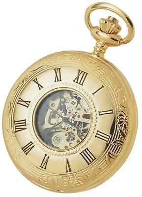 Woodford Gold Plated Double Half Hunter Skeleton Spring Wound Pocket Watch - Gol