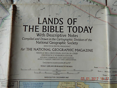 1967 National Geographic Society Large Map - Lands Of The Bible Today