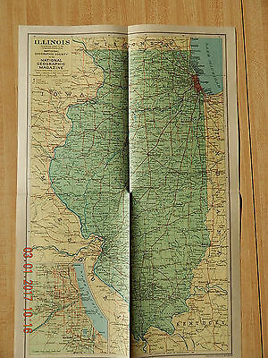 The National Geographic Society Map State Of Illinois 1931 Vintage
