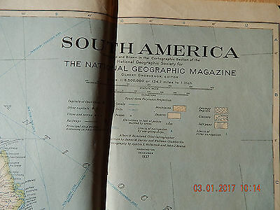 The National Geographic Society Map Of South America 1937 Vintage