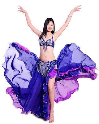 New Profession Belly Dance Costume 3PCS Bra&Belt&Skirt Bollyweed Carnival 9color