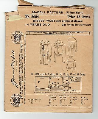 Antique Waist Blouse Pattern Size Age 14 Bust 32 McCall 5084 Girl or Small Woman