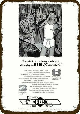 1945 REIS Vintage Look Metal Sign SOLDIER SHOWERING & 1 ADMIRING MAN'S UNDERWEAR