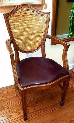 ARM CHAIR French Cane Back Carved Wood