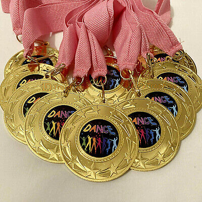 10 x Dance Medals & Pink Ribbons, Party, Gold Dance Medals School Awards, Trophy