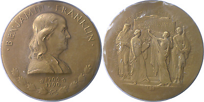 """United States Mint 3"""" Bronze Benjamin Franklin Medal Original Box With Stand"""