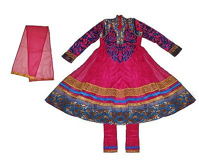 Girls Salwar Kameez Dress Anarkali Pink Gold Blue Sizes 4-14 USA FAST SHIPPING