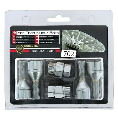 Butzi Chrome Anti Theft Locking Wheel Nut Bolts & 2 Keys to fit Size 12x1.25 L28
