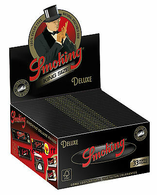 1 Box Smoking DELUXE Slim King Size Papers 50 Heftchen x 33 Blättchen De Luxe