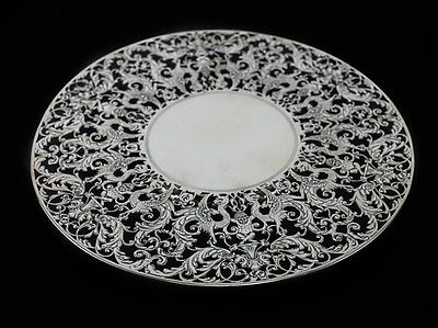 Roger Williams Sterling Silver Hand Chased Pierced Cake Stand Plate, c1910