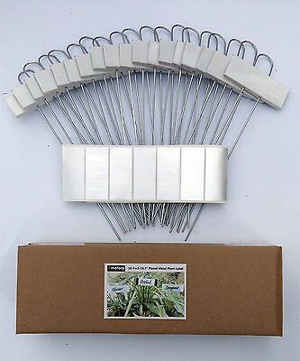 """Painted Metal Plant Labels Garden Markers Set of 18 White-10.7"""""""